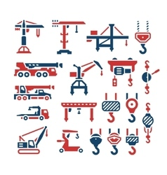 Set color icons of crane lifts winches and hooks vector