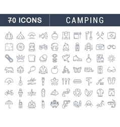Set flat line icons camping vector