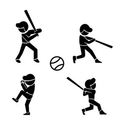Set of baseball icons in silhouette style vector