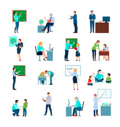 Teacher people flat colored icons set vector