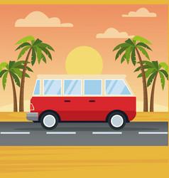 vehicle in highway vector image vector image