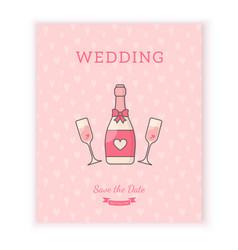 wedding card template vector image vector image