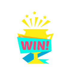 Win congratulations sticker with golden cup design vector