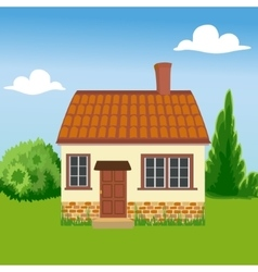 Eco friendly house on a background of nature vector
