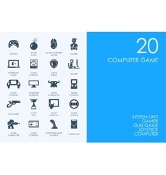 Set of computer game icons vector