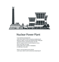 Silhouette nuclear power plant poster brochure vector