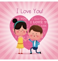 Couple proposal happy i love you pink heart vector
