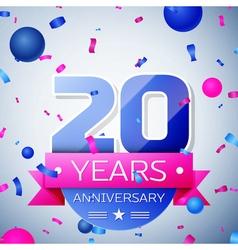 Twenty years anniversary celebration on grey vector