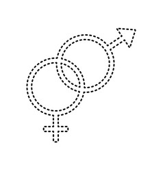 Sex symbol sign  black dashed icon on vector