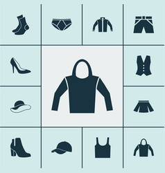 Clothes icons set collection of cardigan vector