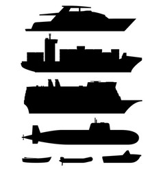 Ships and boats black silhouettes vector