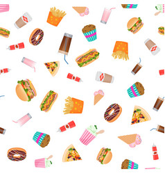 flat design fast food seamless pattern vector image