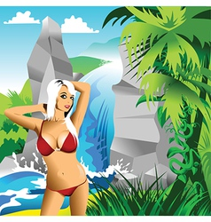 Waterfall with beautiful woman vector