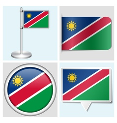 Namibia flag - sticker button label flagstaff vector