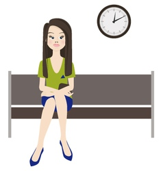 Melancholy woman wait vector