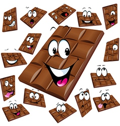 Milk chocolate cartoon with many expression vector