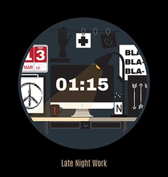 Modern office workspace freelance night vector