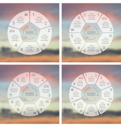 Circle line infographics set template for cycle vector