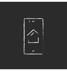 Property search on mobile device icon drawn in vector