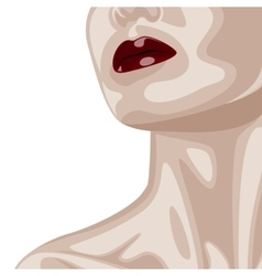 Woman with dark red lips and beautiful neck vector