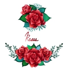 Red roses vignette collection vector