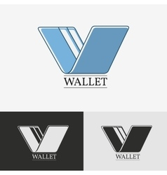 Wallet with credit card icon vector