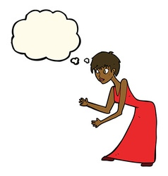 Cartoon woman in dress gesturing with thought vector