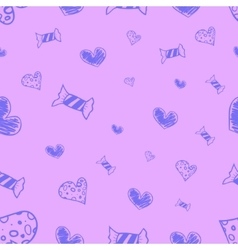 Seamless candies and hearts vector
