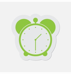 Simple green icon - alarm clock vector