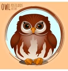 Shubby brown owl cartoon series vector image