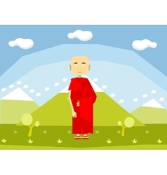 Calm buddhist monk vector