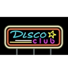 Neon signboard disco club design vector