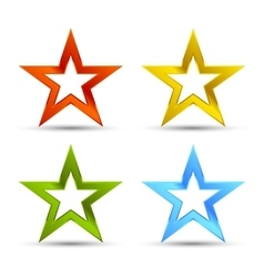 Full color star icons vector
