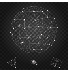 Abstract polygonal wireframe icons set vector image