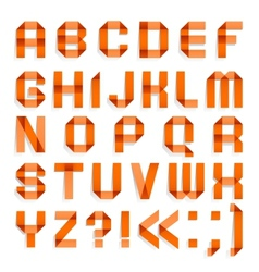 Alphabet folded of colored paper - Orange letters vector image vector image