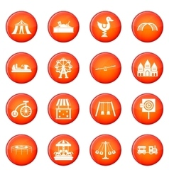 Amusement park icons set vector