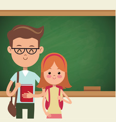 Back to school couple students with blackboard vector