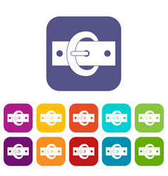 Buckle belt icons set flat vector