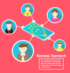 Business smartphone social network and teamwork vector