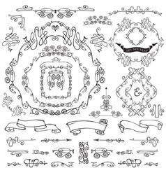 Calligraphic royal design elementsframesborders vector
