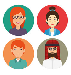 Diversity people icon set vector