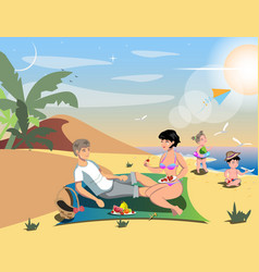 family on beach vector image