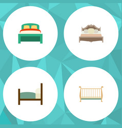 Flat mattress set of furniture cot bed and other vector