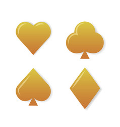 golden playing cards symbols set on white vector image vector image