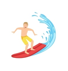 Guy In Yellow Shorts Riding A Surf vector image vector image