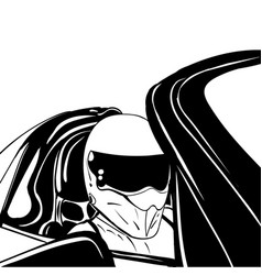 Hand drawn racer in a helmet sketch vector