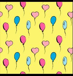 hand drawn vintage set of bright balloons vector image