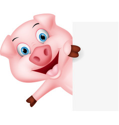 Happy pig cartoon with sign vector