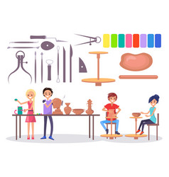 happy young potters and various tools vector image