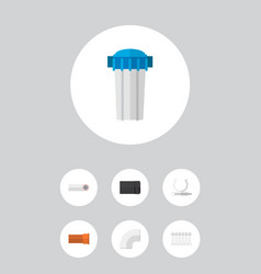 icon flat industry set of pipe drain plastic and vector image vector image